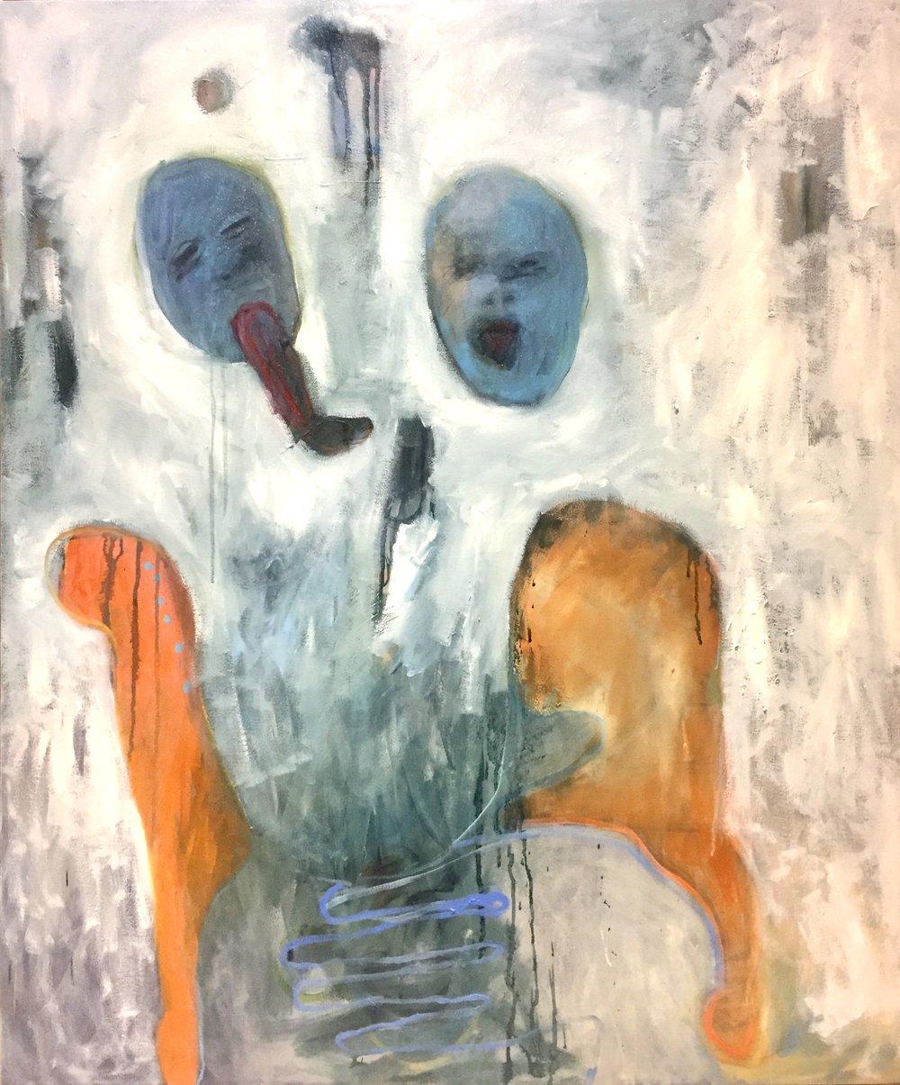 Twin  Turmoil   Jo Rogge        Oil on Canvas     1000 x 1200 x 30 mm     R 15 400.00