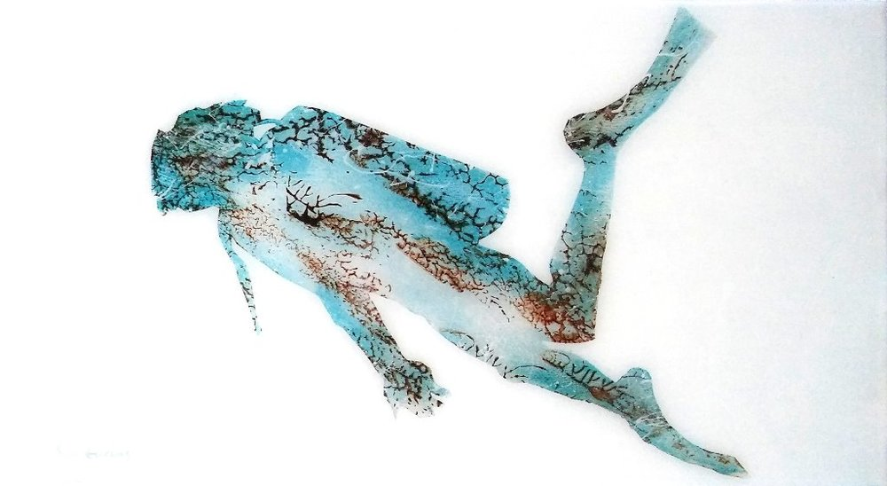 Diver 1     Anthony Evans   Acrylic on MDF board with resin     360 x 200 mm     R 4 000.00 excl. vat