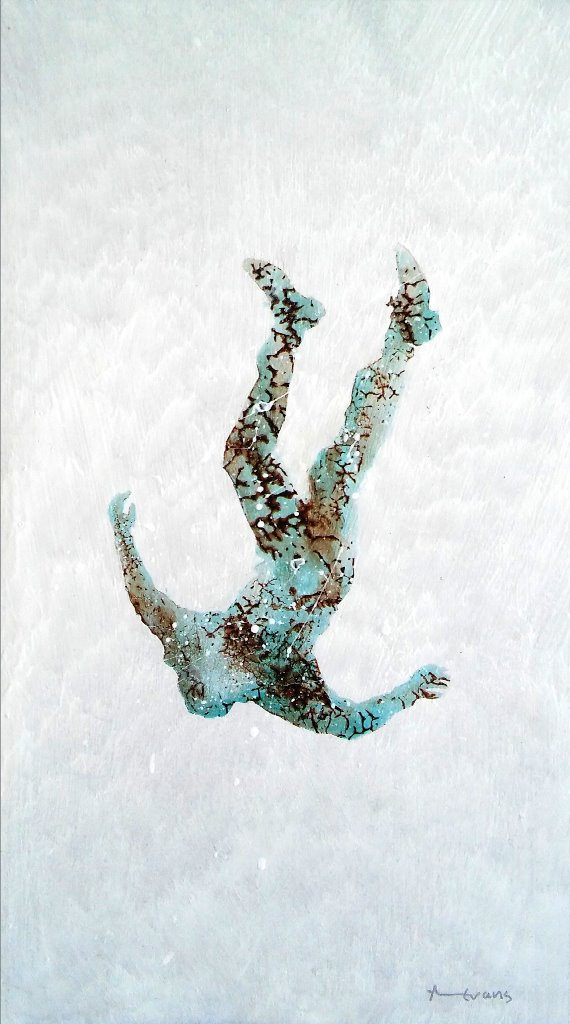 Freefall 2   Anthony Evans  Acrylic on MDF board with resin  400 x 220 mm  R 4 000.00 excl. vat