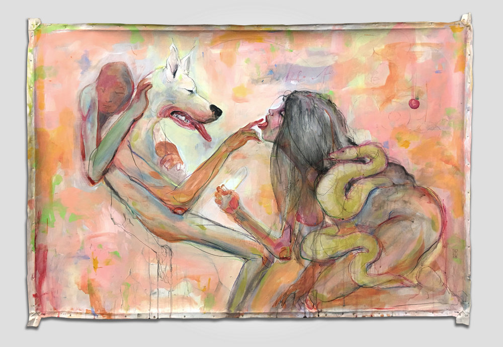 Dog In Me,  Philipp Pieroth, Mixed Media on canvas, 1230 x 830 mm, Price on Request. 2017.