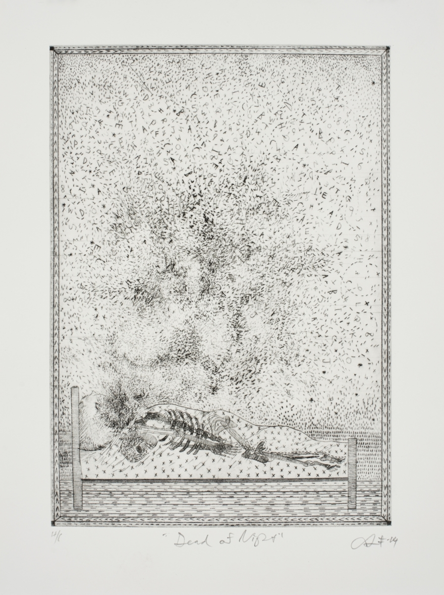 Dead at Night   Fred Clarke  Drypoint on paper  Edition of 44    R 3 200,00 excl. vat