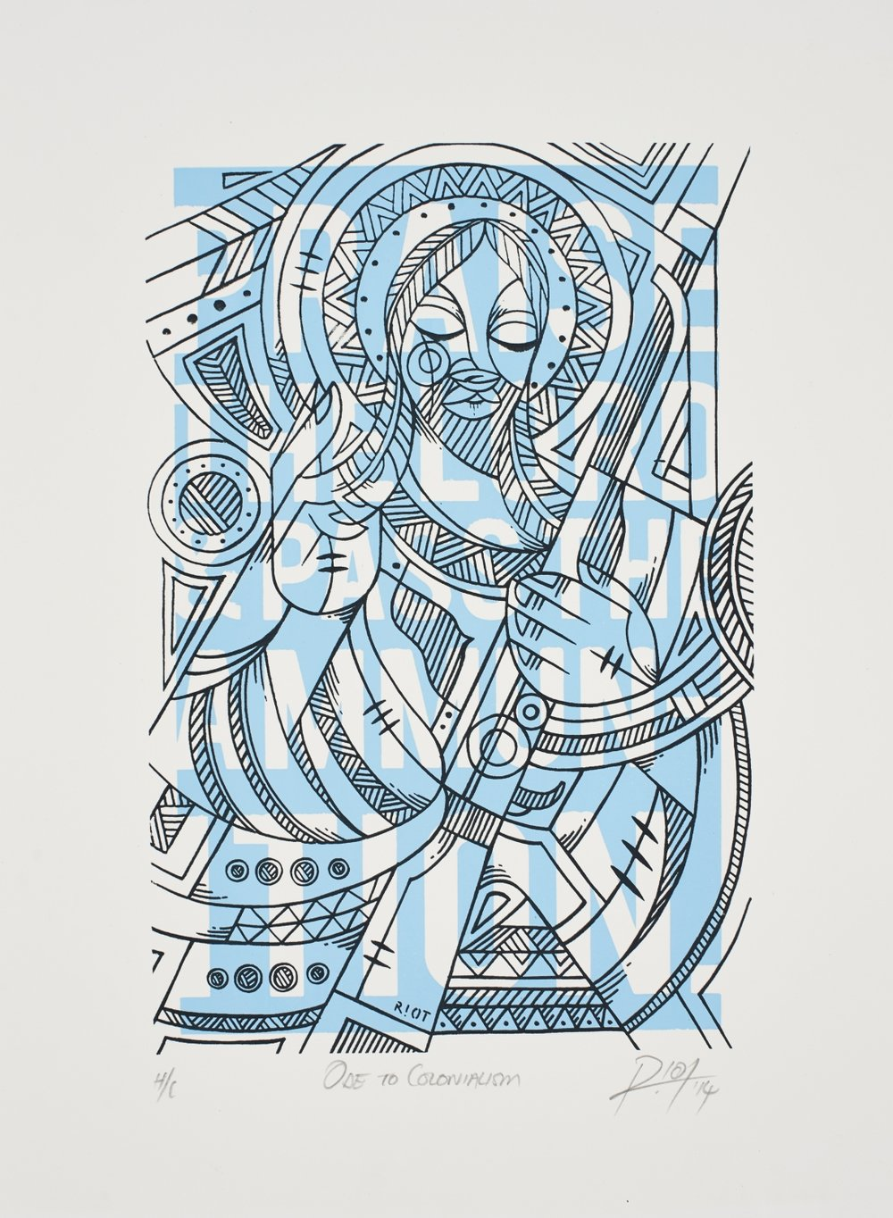 Ode to Colonialism   Sindiso Nyoni  Silkscreen on paper  Edition of 44   R 3 200.00 excl. vat