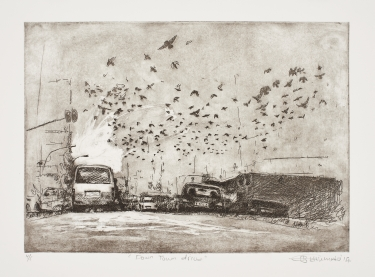 Down Town Drive   Themba Khumalo  Etching on paper  Edition of 44   R 3 200.00