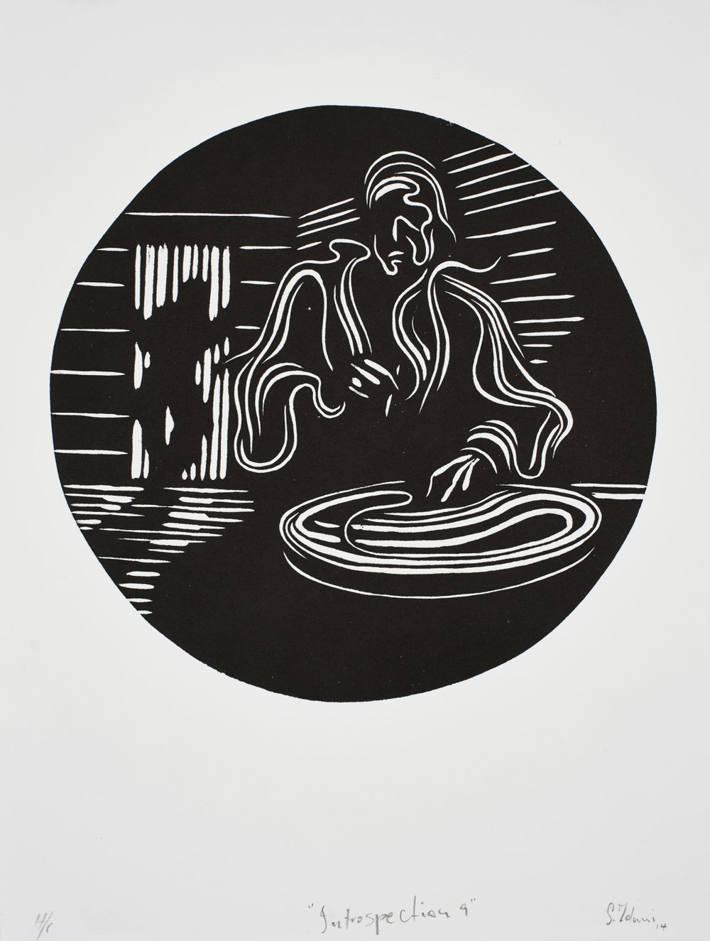 Introspection 9   Zolani Siphungela  Woodcut on paper  Edition of 44   R 3 200.00 excl. vat