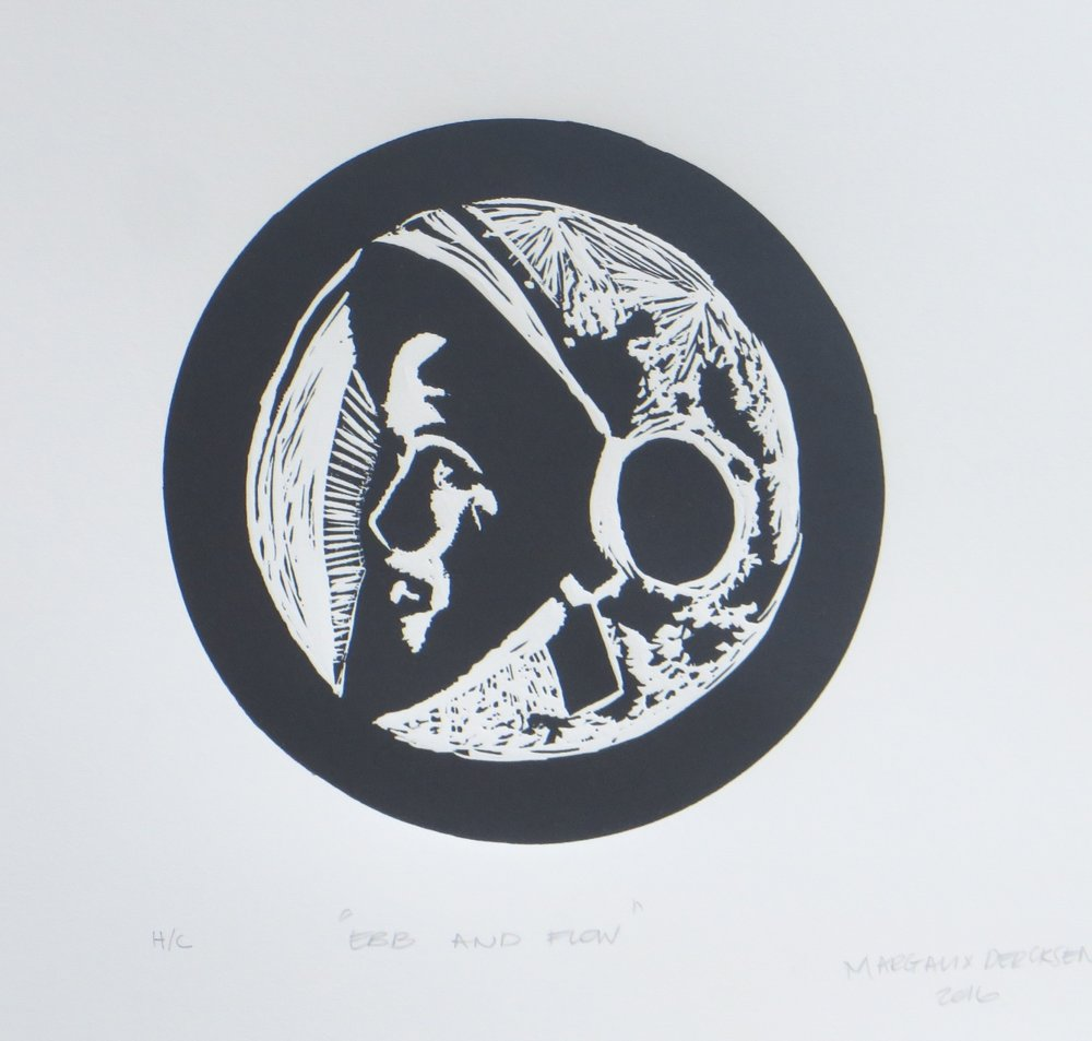 Ebb and Flow   Margaux Dercksen  Linocut  335 x 335 m  Edition of 20  R 1340.00 excl. vat