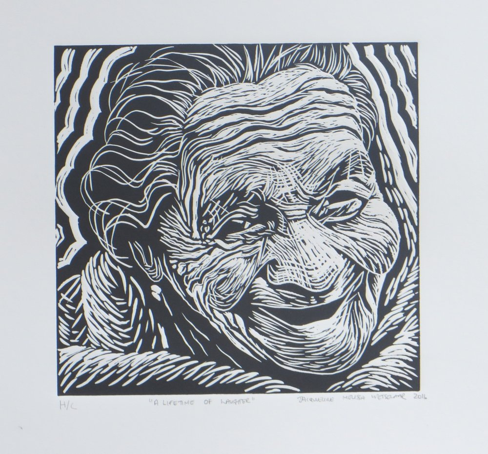 A lifetime of laughter   Jacque Wetselaar  Linocut  335 x 335 mm  Edition of 20  R 1 340.00 excl. vat