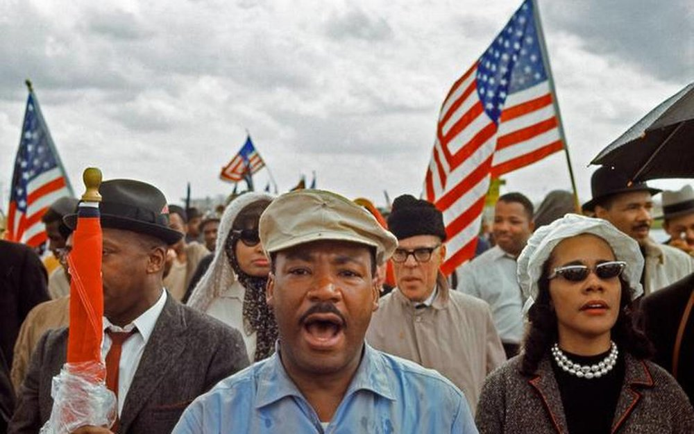 Dr King leads the march from Selma to Montgomery   (Photo: Bob Adelman)