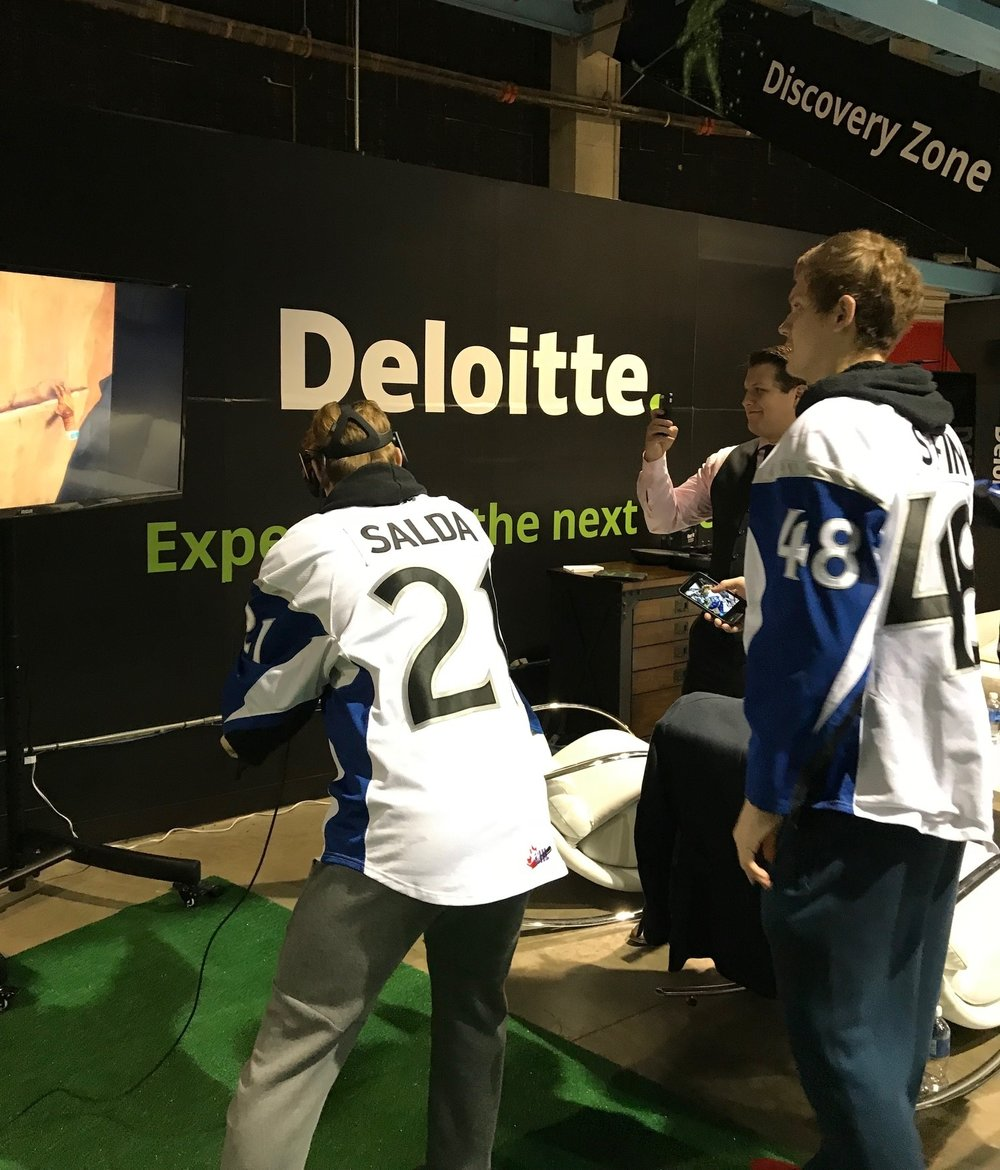 Members of the Saint John Sea Dogs play with the technology in the Discovery Zone at Harbour Station.Some of it will be brought for delegates to test at the 2018 UNB Sports Business Conference.