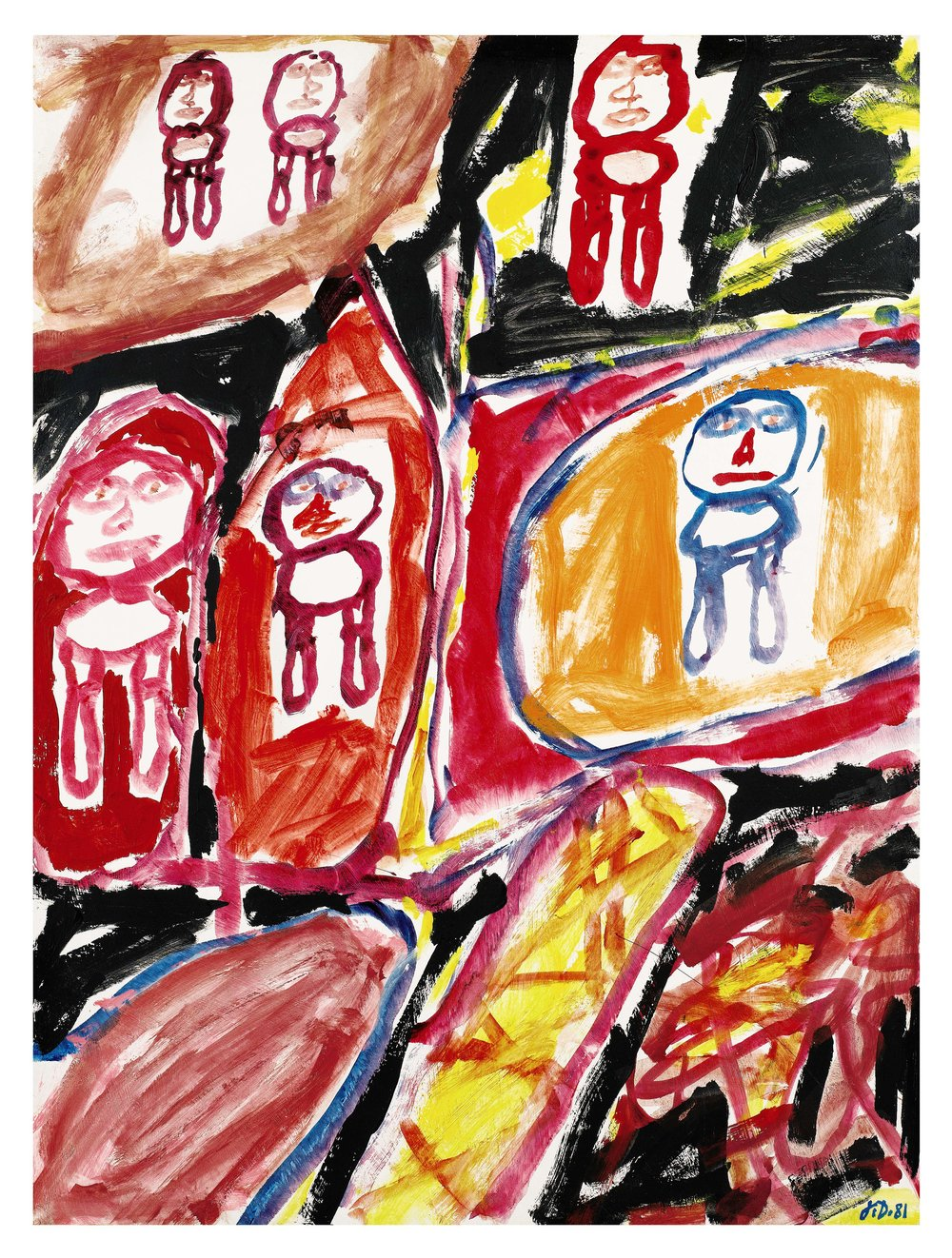 Opera Gallery.  Jean Dubuffet,  Site avec 6 personnages , 1981