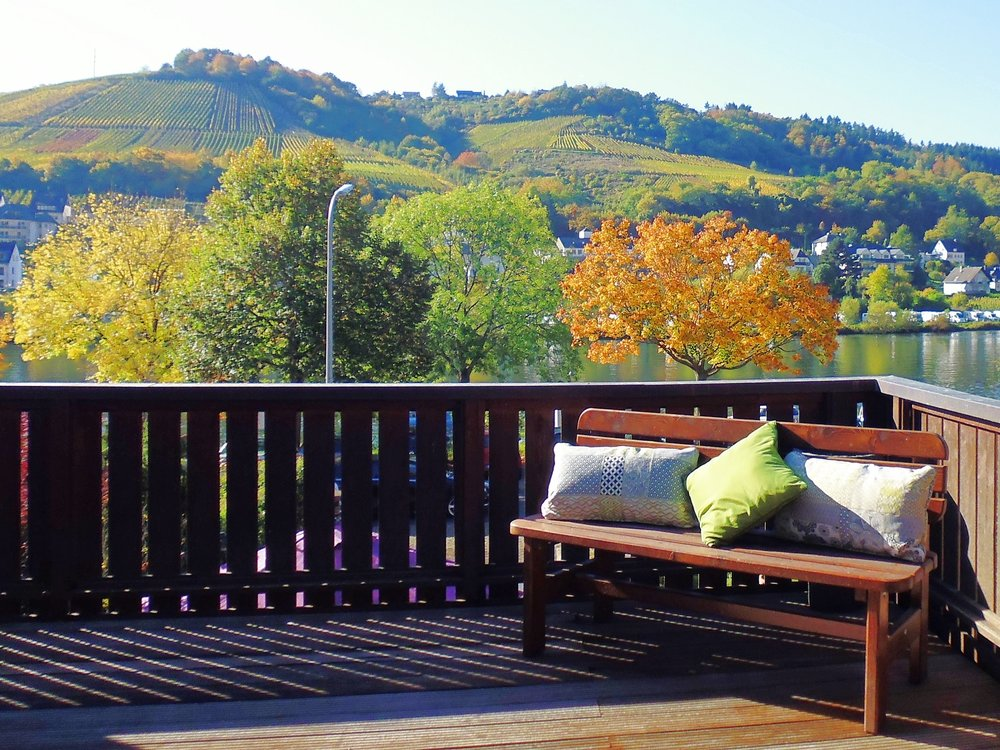 The large terrace has beautiful views of the river and vineyards