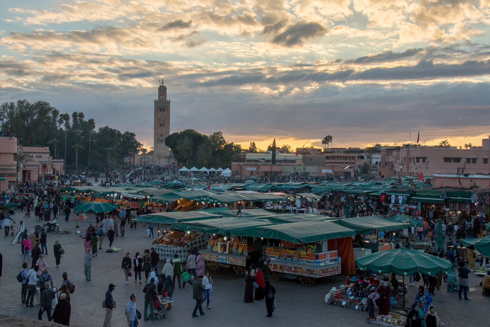 The Jemaa el-Fnaa at sunset.