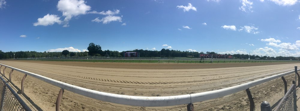 Panorama of the final straight away at Saratoga Race Track