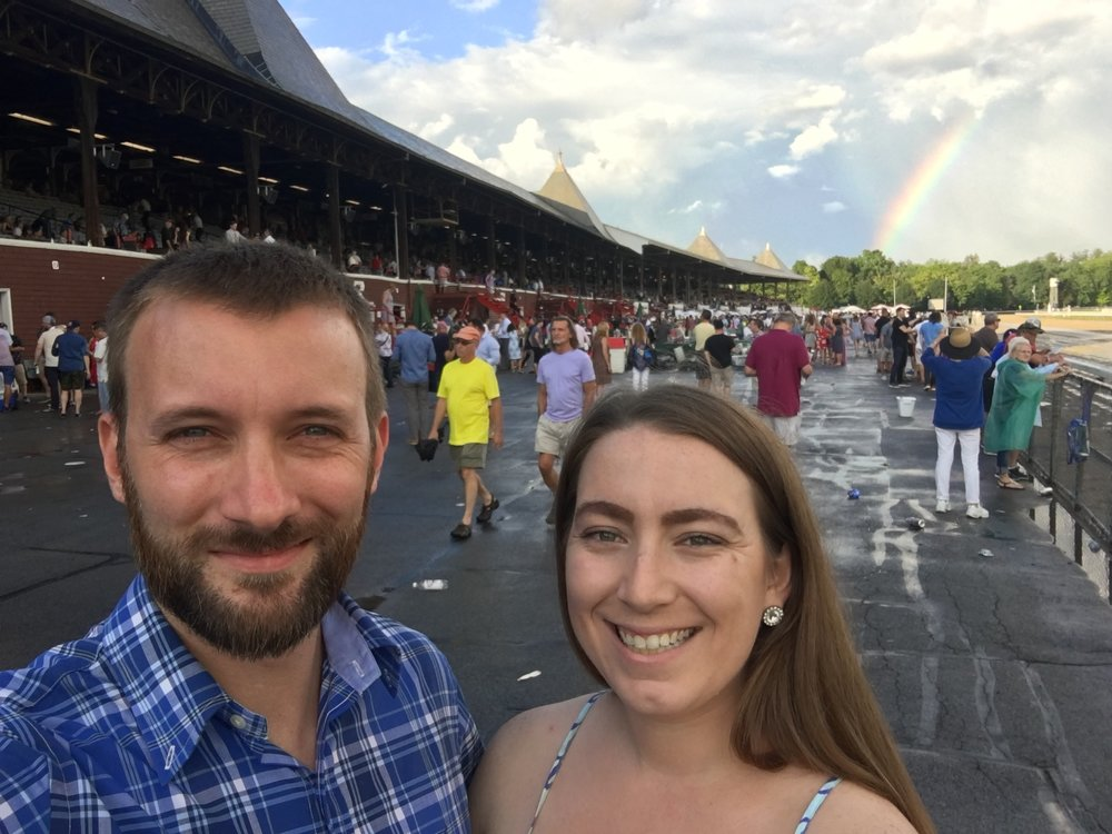 Rainbow post thunderstorm at the Whitney Race at Saratoga