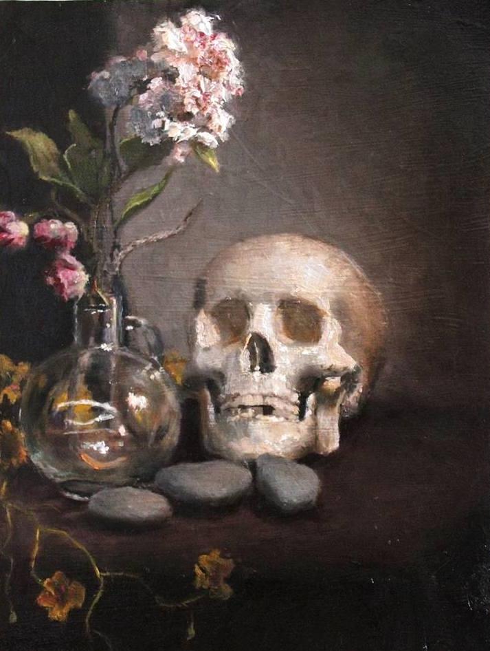 Flowers. Skull. Rocks.