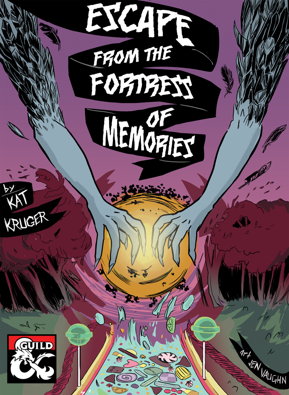 Escape from the Fortress of Memories - Written by Kat KrugerA two-hour adventure for 1st-4th level characters.A dmsguild.com Copper Best Seller!In the bustling town of Phandalin, a young girl goes missing one night. The adventuring party is drawn into a strange dreamlike world by the whims of the Raven Queen. In order to escape, they must help the girl fight the very things that spawn from her imagination.