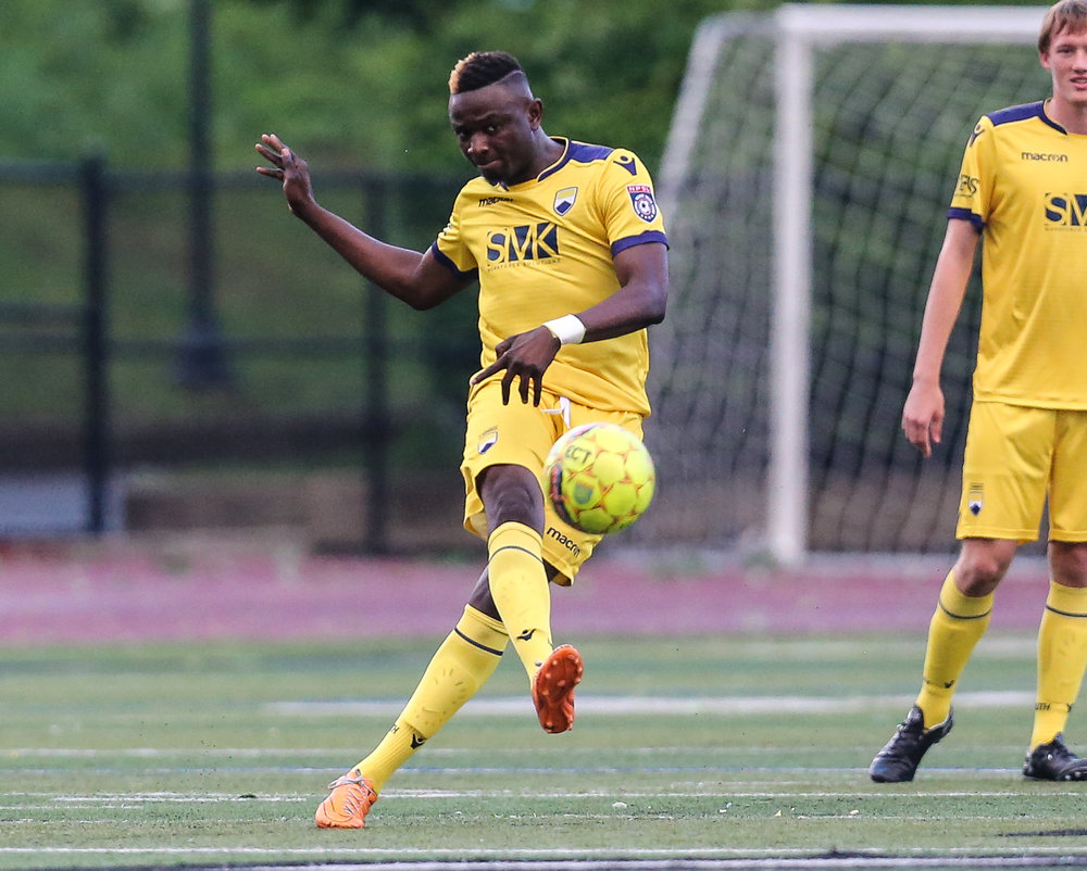 George Akampeke in action at the Home Opener against Atlantic City FC