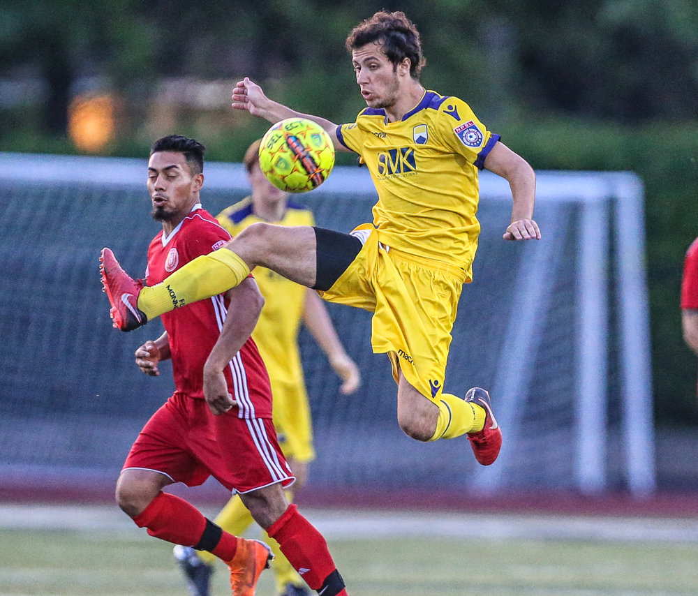 Chase Covello controlling the ball in the last home game against NJ Copa FC