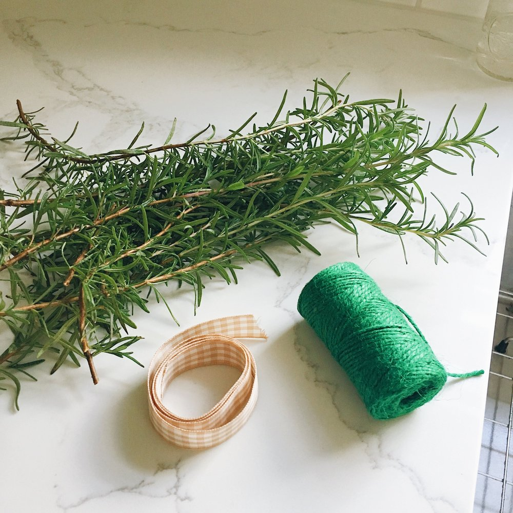 step: 1 - Your supplies: fresh rosemary, ribbon, twine.