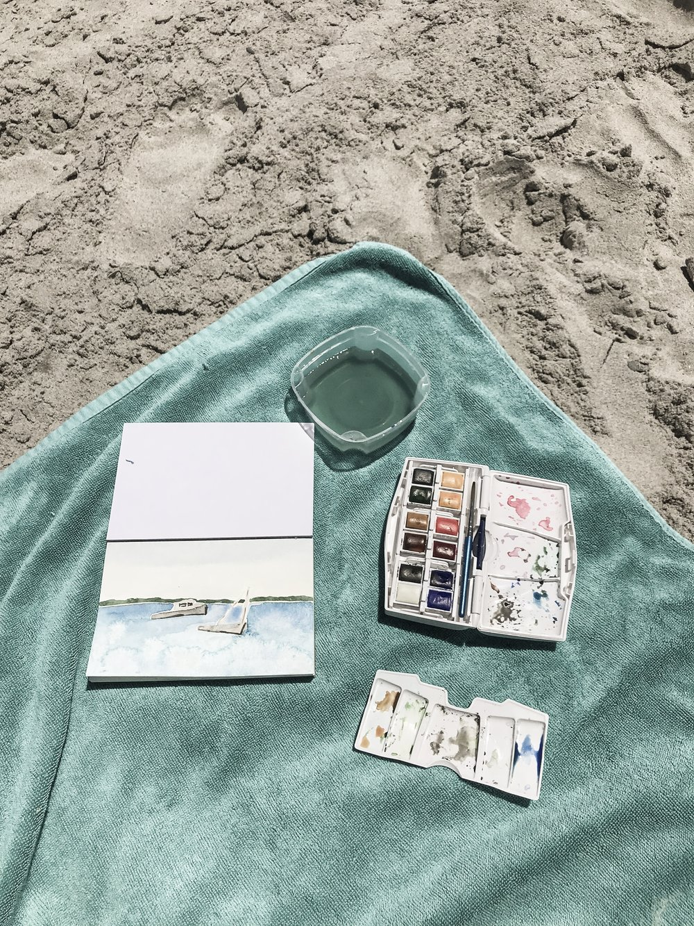 watercolor supplies travel kit