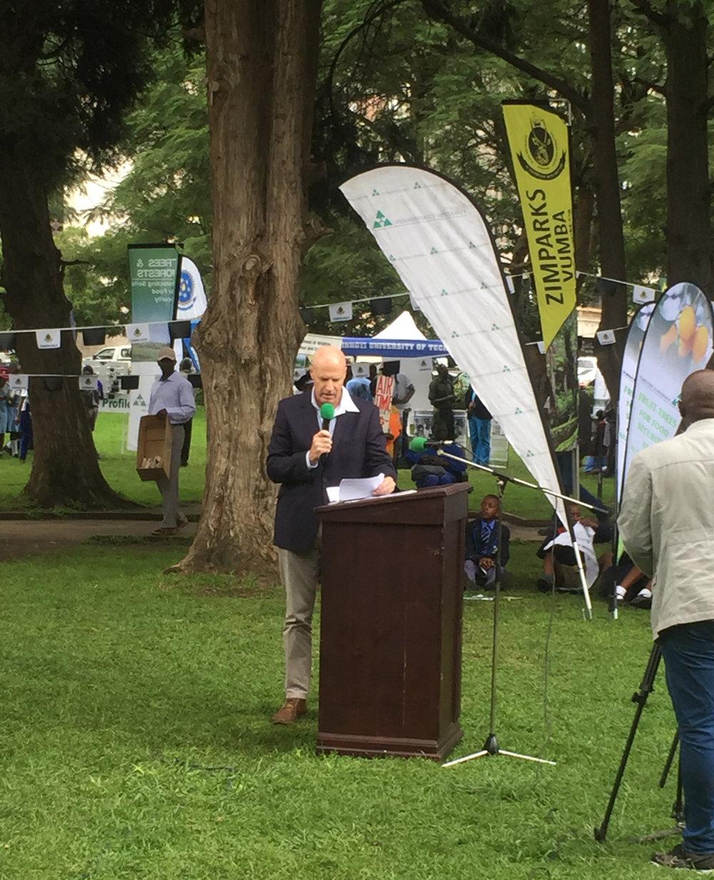 Zambezi Society Gary Layard addresses a crowd in Harare on World Wildlife Day 3 March 2018.JPG