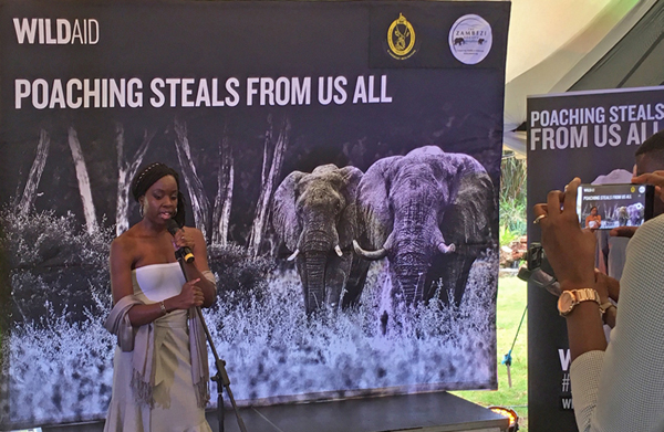 Danai Gurira speaks at the opening of the WildAid Zimbabwe campaign in Harare