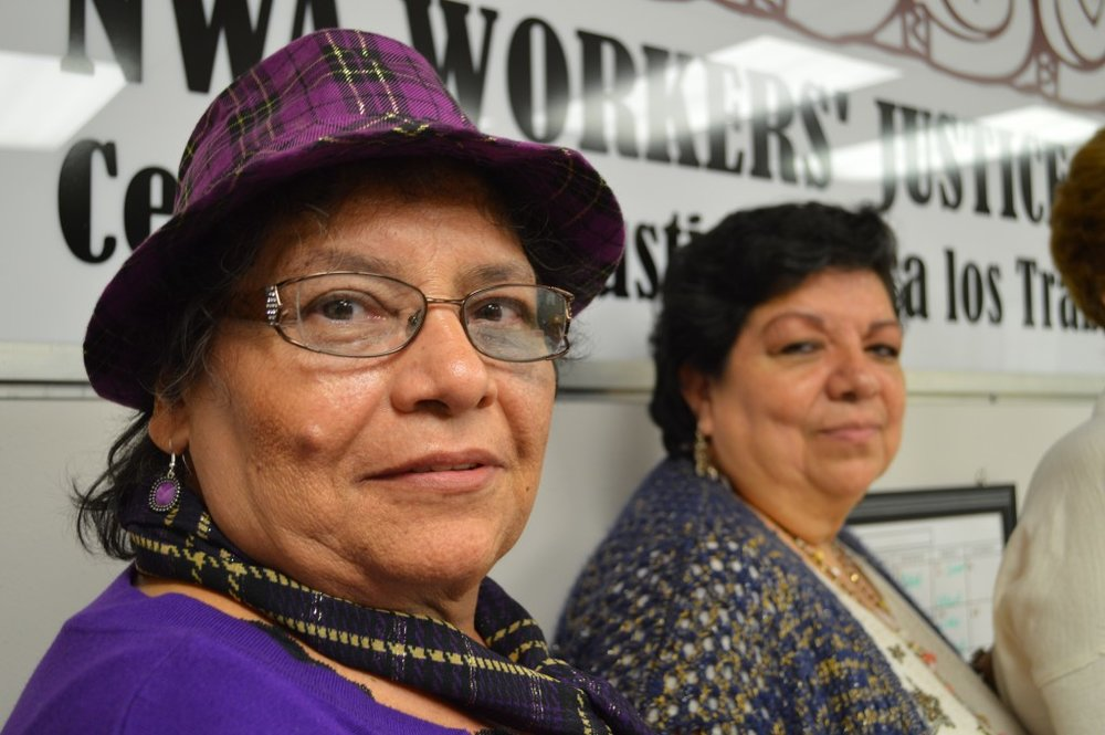 Rosa Rivas (L) and Noemi Barragan at the Northwest Arkansas Workers' Justice Center.