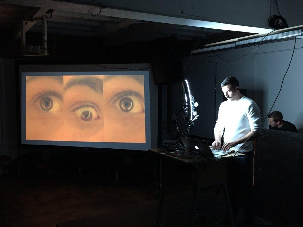 10PM    Matt Romein , an ITP resident, was the headliner and performed  In Triplet , a custom slit-scan based audio/visual sampler.
