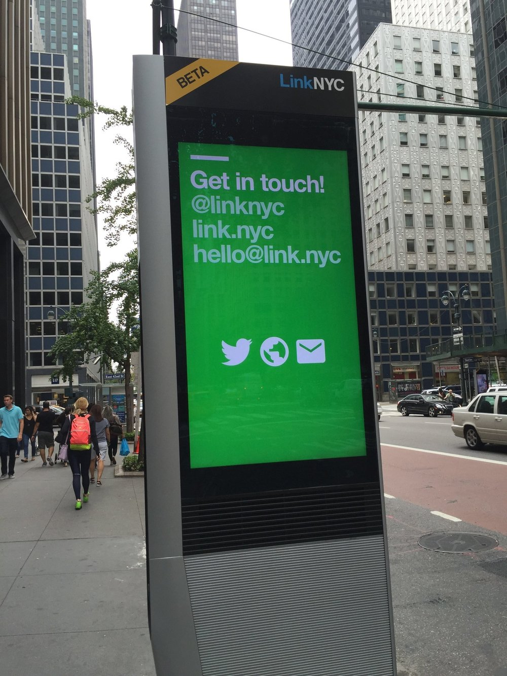 LinkNYC -  LinkNYC is a first-of-its-kind communications network that will replace over 7,500 pay phones across the five boroughs with new structures called Links. Each Link will provide super fast, free public Wi-Fi, phone calls, device charging and a tablet for access to city services, maps and directions.