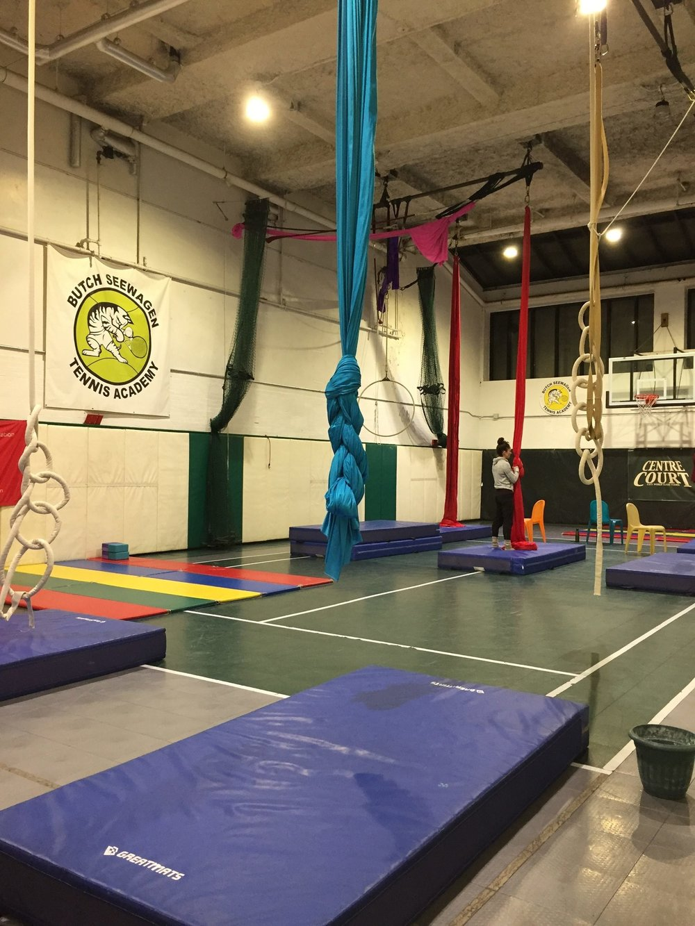 4PM   To try to get the news off my mind, I head to my aerial silks class. Check #3 off my list.  I forgot to record audio in this space. The audio would be 'tin-y' and 'echo-y' anyway, so it's probably better that I didn't ;)