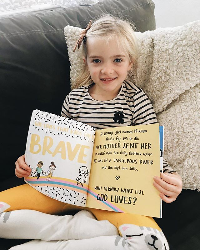 Livie's favorite page is BRAVE! Go check our story to see more of kids reading The Best News Ever! . #illustration #bookstagram #nextgen #kids #jesus #brave #yellow