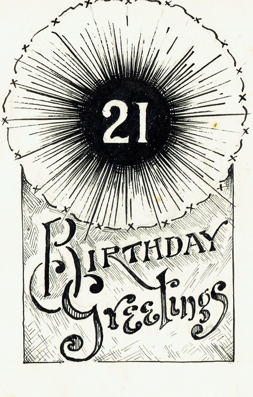 Card drawn by Reg for Doreen's 21st birthday card, 1944