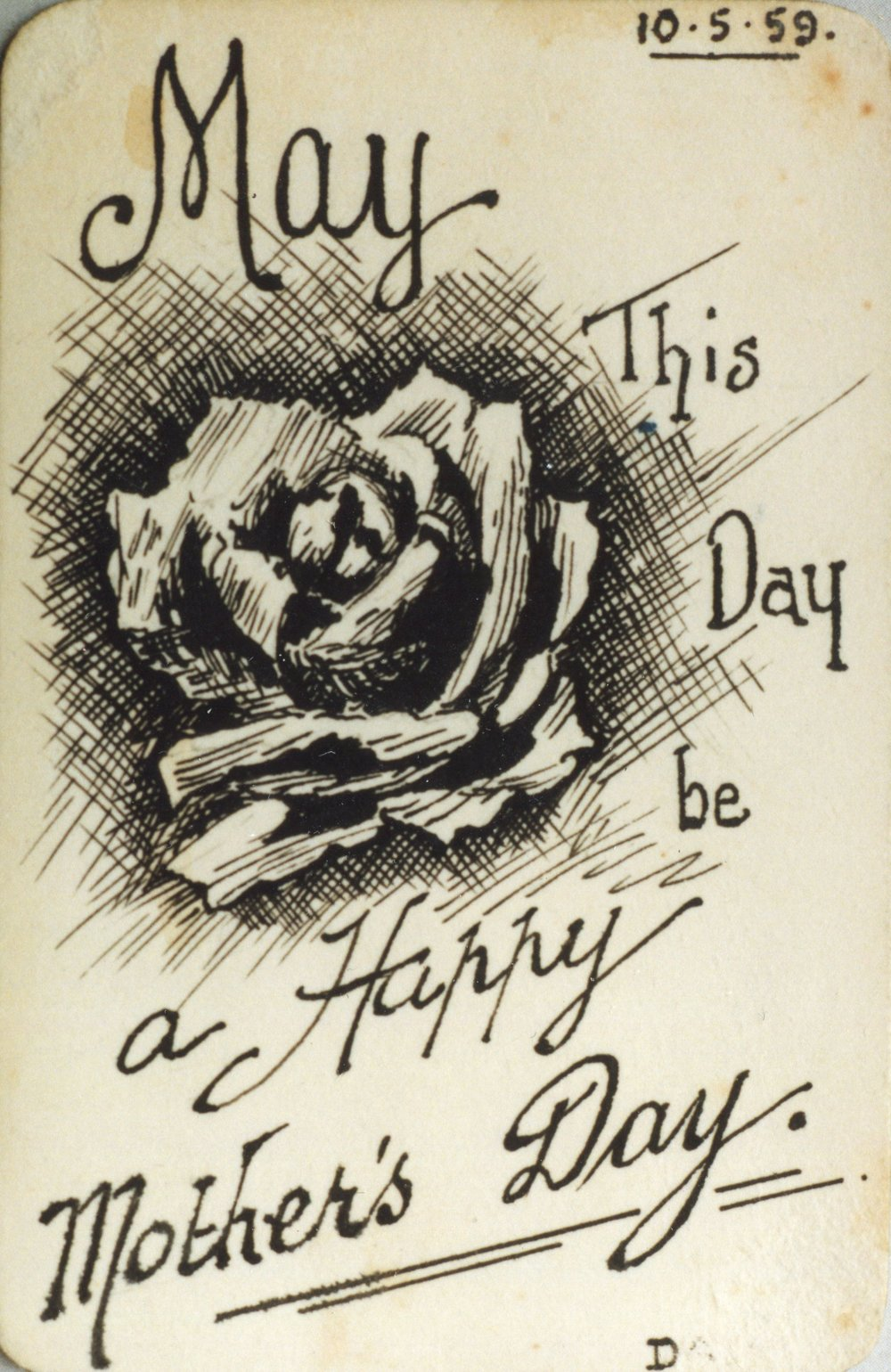 Card drawn by Reg for May, Mother's Day 1959