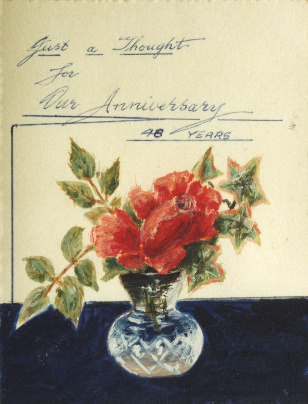 Card drawn by Reg for May, 48th wedding anniversary, 1967