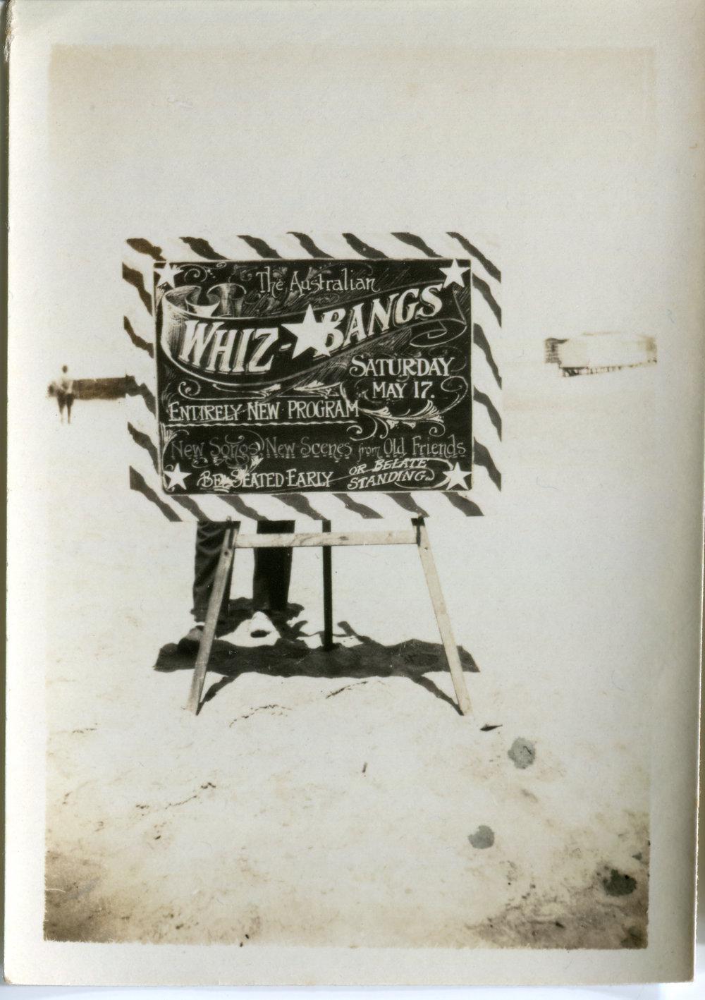 The Whiz Bangs performing at Zagazig, Lower Egypt, Saturday 17 May 1919.
