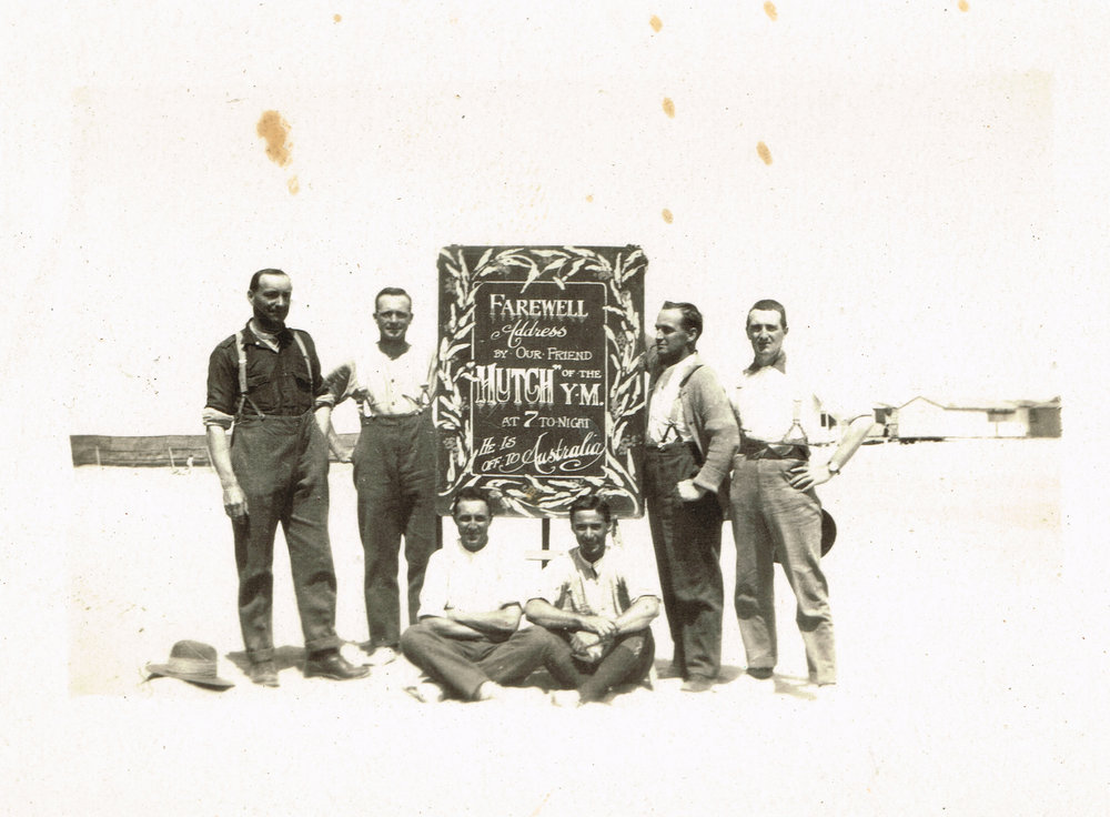 The chalkboard Reg drew farewelling Hutch in April 1919, as he headed back home to Australia after two years in Egypt.