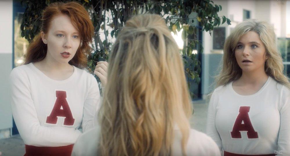 GLENNELLEN ANDERSON  as cheerleader and glee club leader, Linda, in  BRAT's  YouTube series,  A GIRL NAMED JO  (starring  Annie LeBlanc  and  Addison Reicke ) alongside costar, Caroline Mehki as Martha.