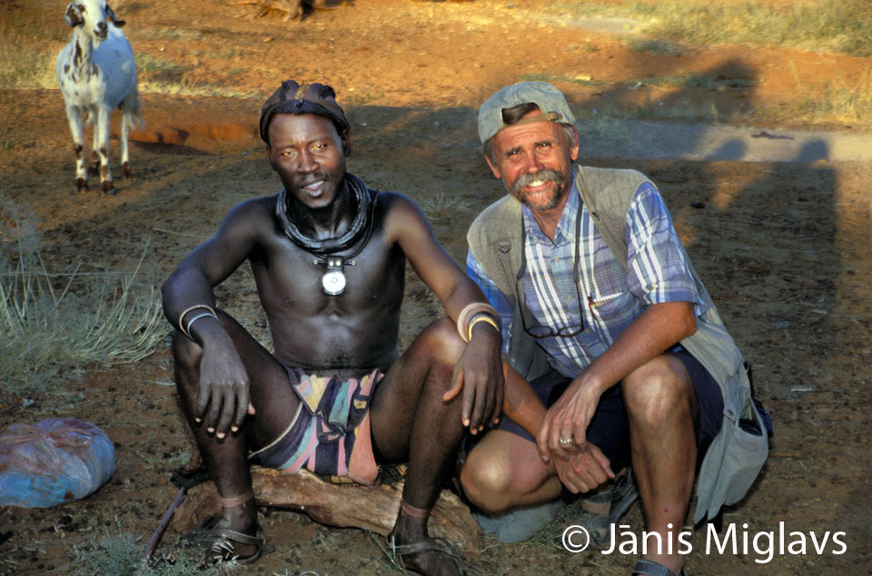 - Here I am with the Himba tribe chief of a tiny village in the northern Namibia while working on the We All Have Five Fingers Project.