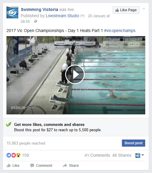 2017 Swimming Victoria Open Championships - 200 new page likes, 81,000 reached, 20,000 post engagements.