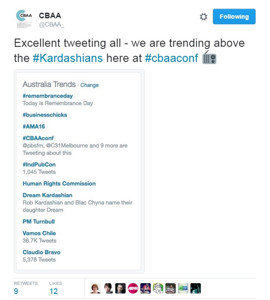 CBAA Conference - 1,400 viewers, 280 people engaged, trended on Twitter.