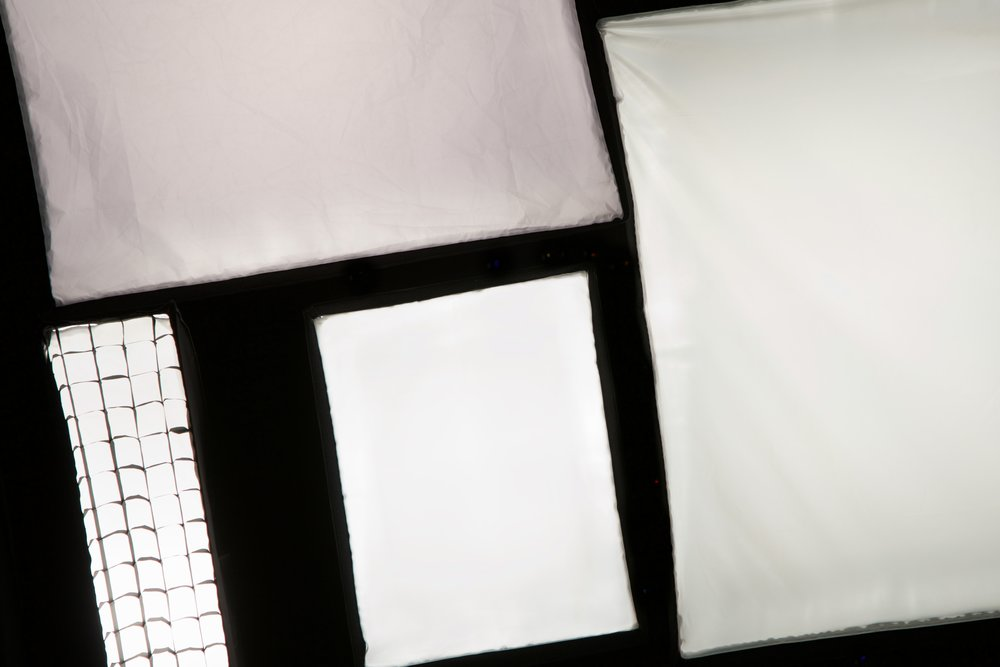 Soft boxes in a variety of sizes and shapes for studio flashes