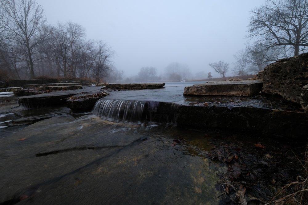 By the Deer Lake rapids.