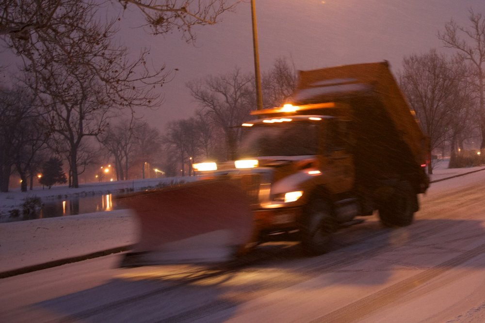The salt truck in Forest Park