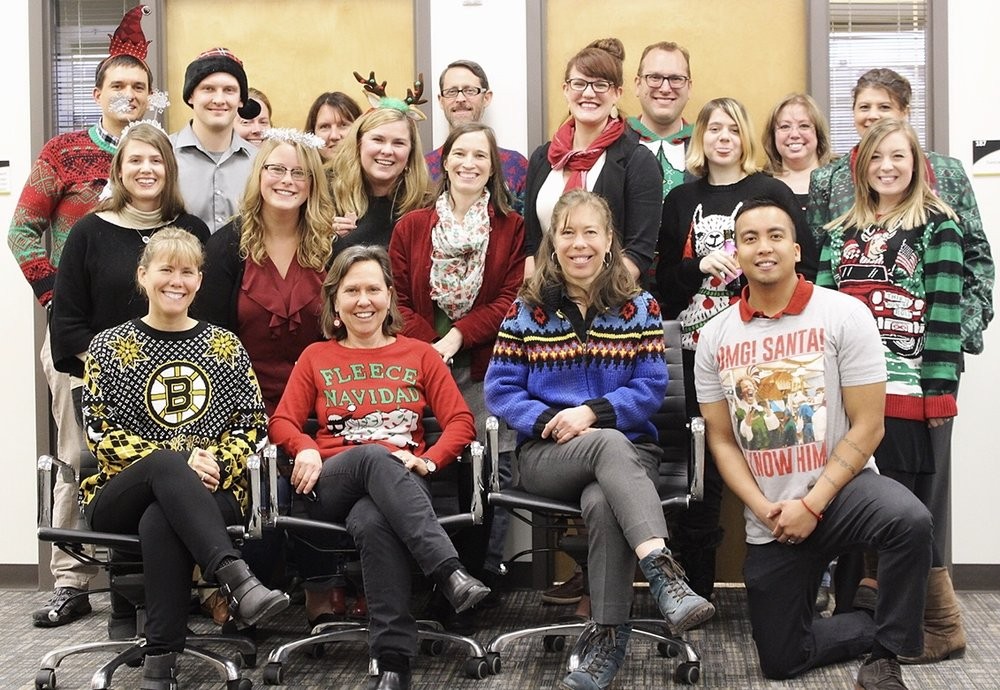 Members of the UAA Business Enterprise Institute during a holiday potluck, December 2017. Photo credit: Harley Tennant.