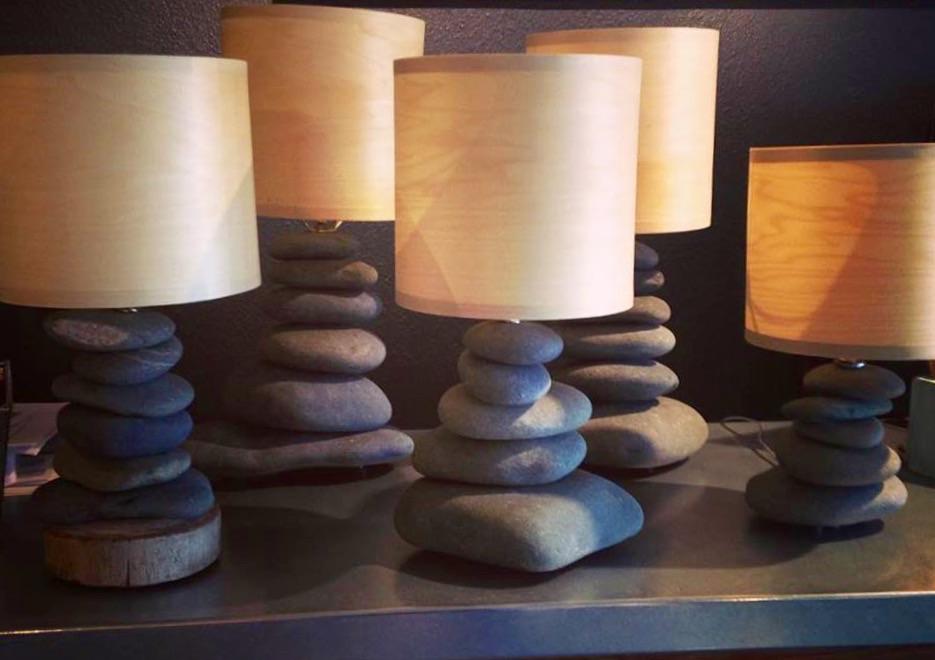 Alaska Beach Stone Lamps from Homer