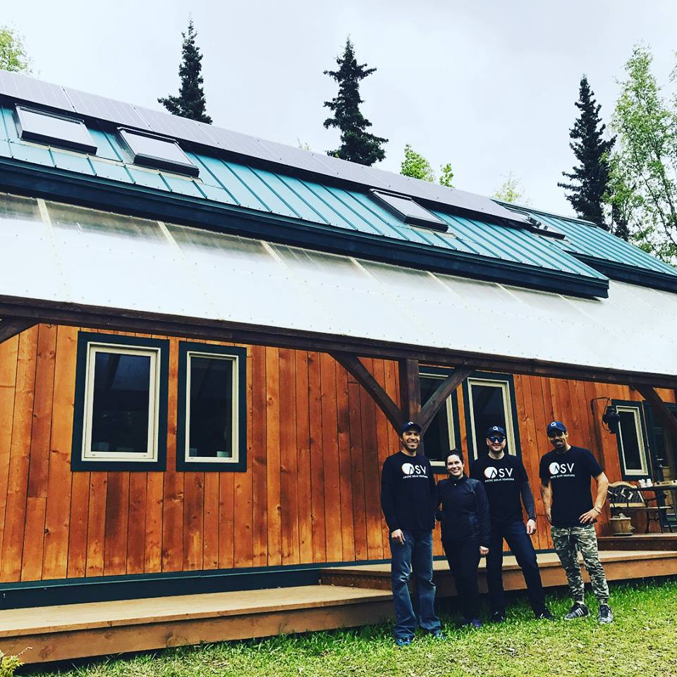 Arctic Solar Ventures installers work during a residential solar project in Palmer, AK. Photo credit:Stephen Trimble, Arctic Solar Ventures.