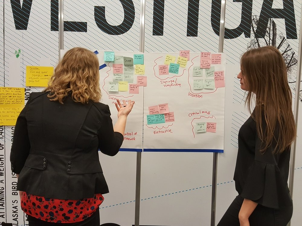 Julia Casey and Ciara Zervantian participate in a design thinking workshop held at the Anchorage Museum.