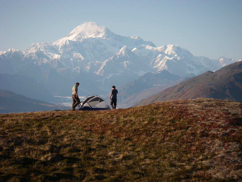Setting up camp with a view of Denali. Photo credit: State of Alaska Division of Parks and Recreation.
