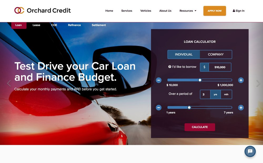 Orchard Credit home page with loans calculator