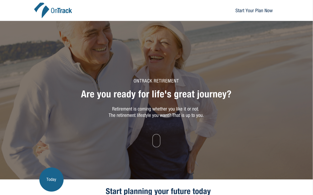 OnTrack start page explaining the retirement planning process