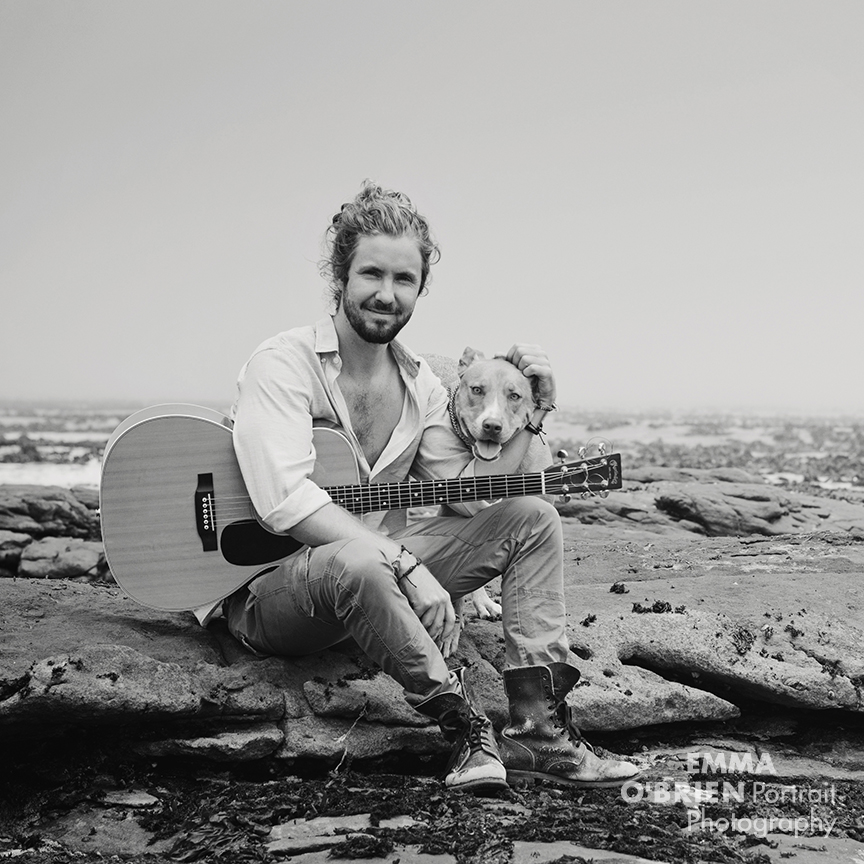 Jeremy Loops and rescue dog Maya photographed in Cape Town by Emma O'Brien